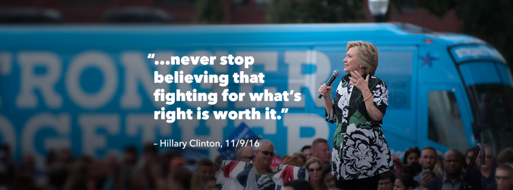 Words of encouragement from Hillary Clinton following defeat